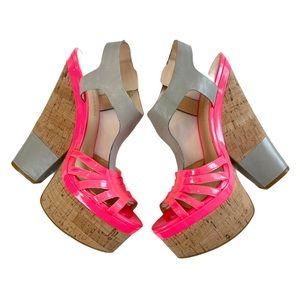 Enzo Angiolini Aegigio Cork Platform Wedge Sandals